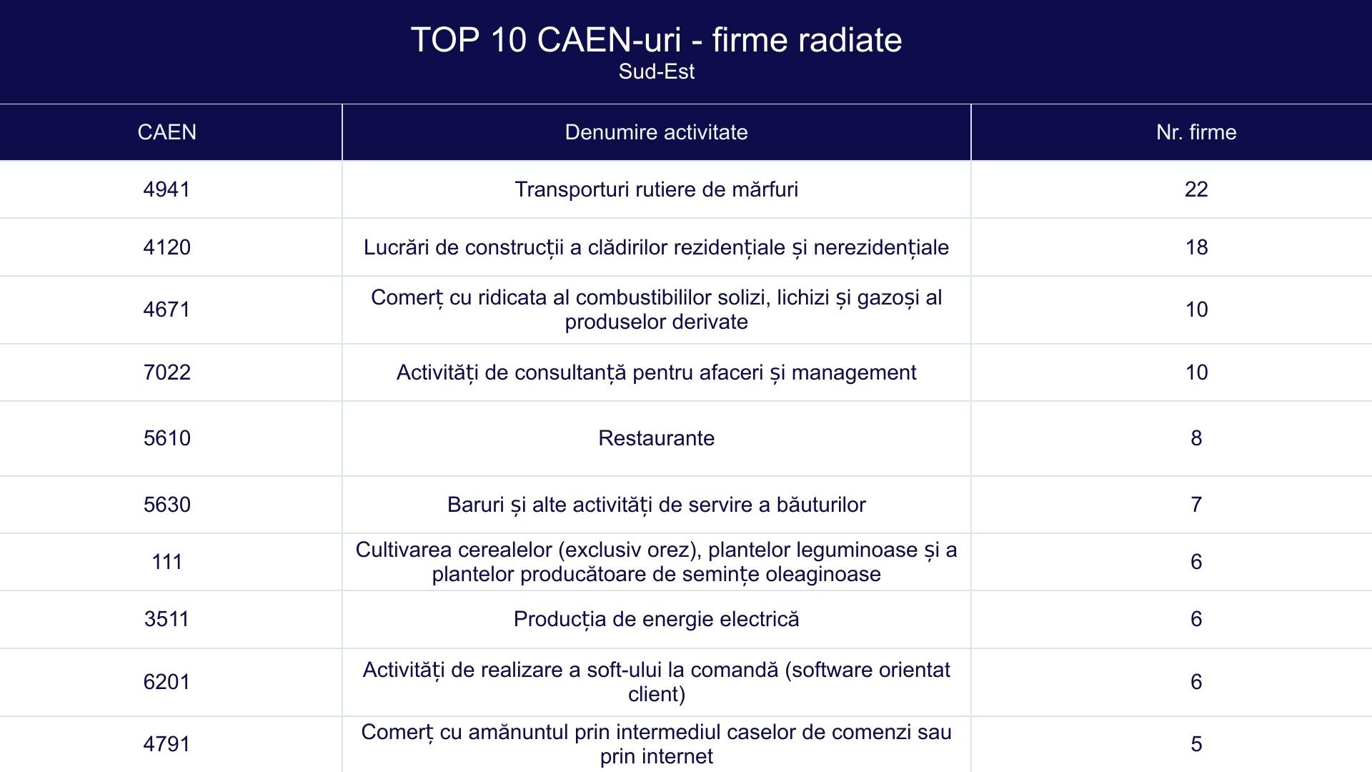 TOP 10 CAEN-uri - firme radiate - Sud Est