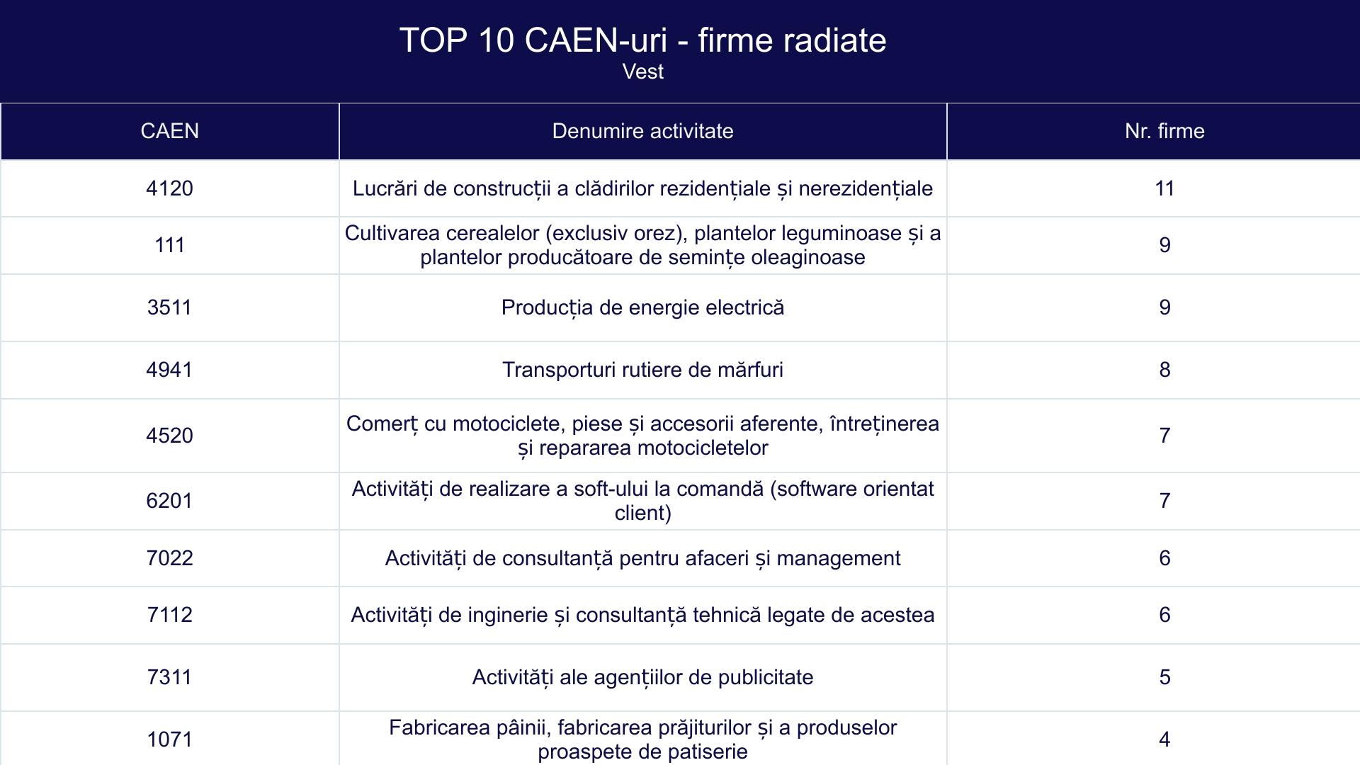 TOP 10 CAEN-uri - firme radiate - Vest
